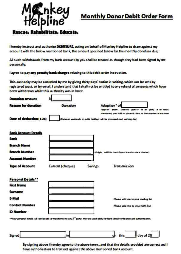 Monthly Donor Debit Order Form