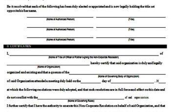 Non Corporate Resolution Form Sample