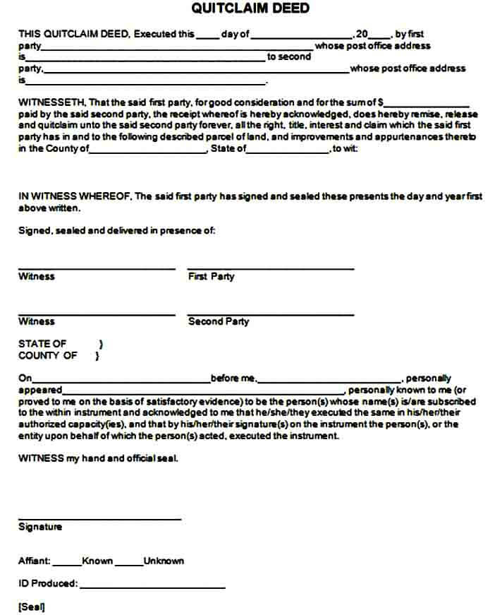 Official Quit Claim Deed Form