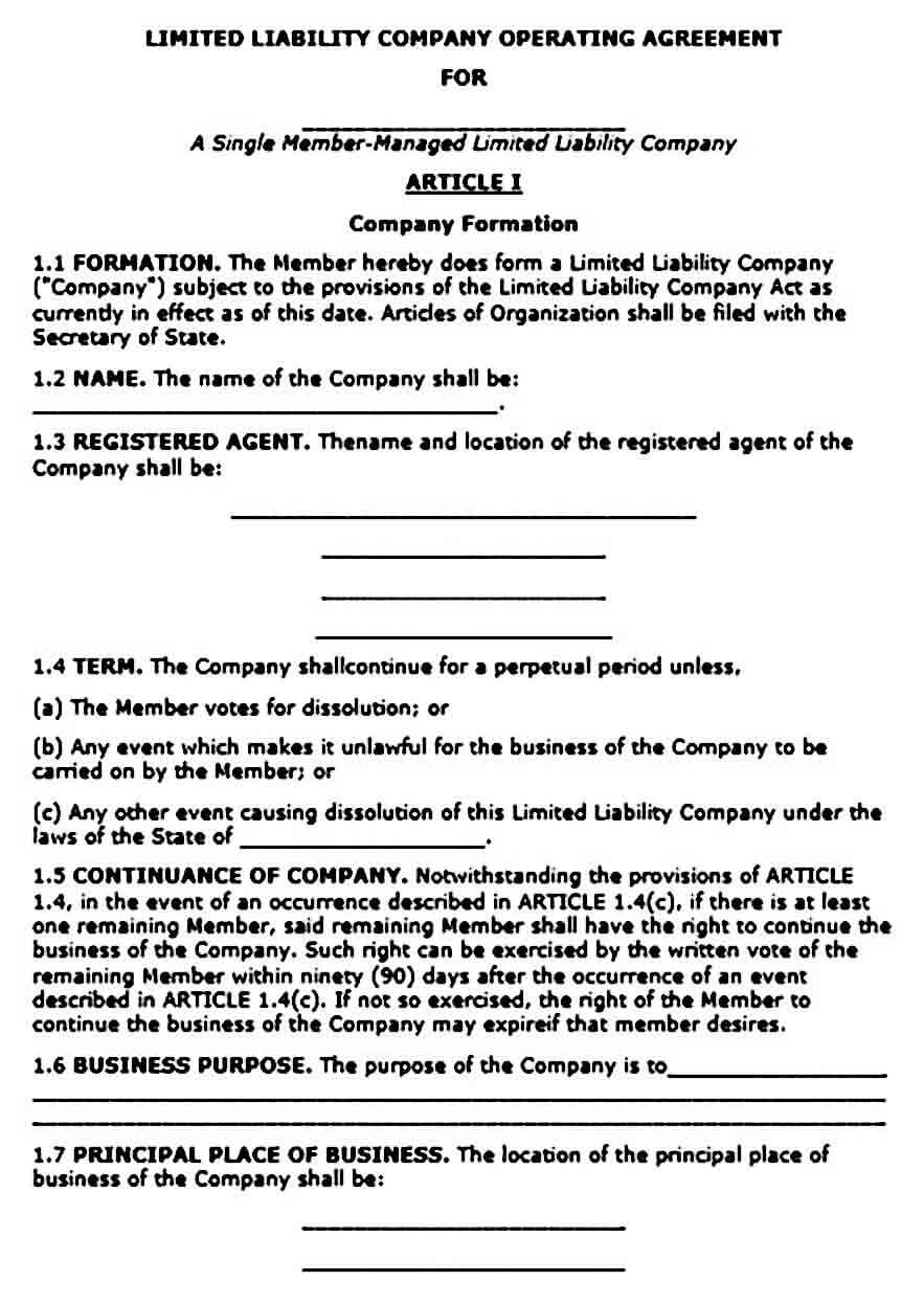 Operating Agreement templates Single Member LLC