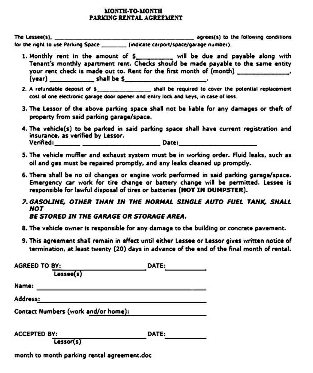 Parking Rental Agreement