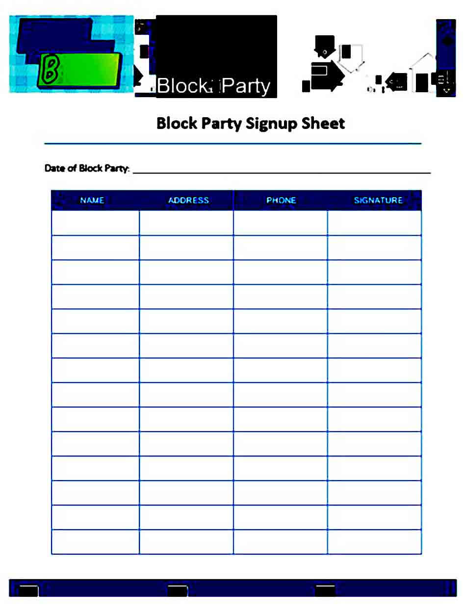 Party sign up Sheet templates
