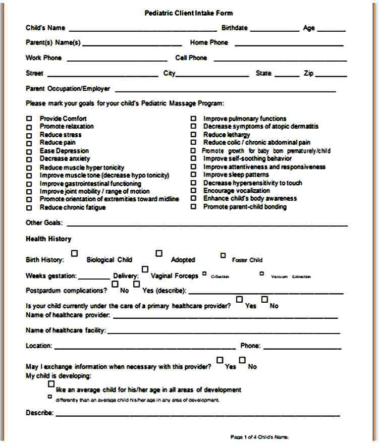 Pediatric Massage Intake Form