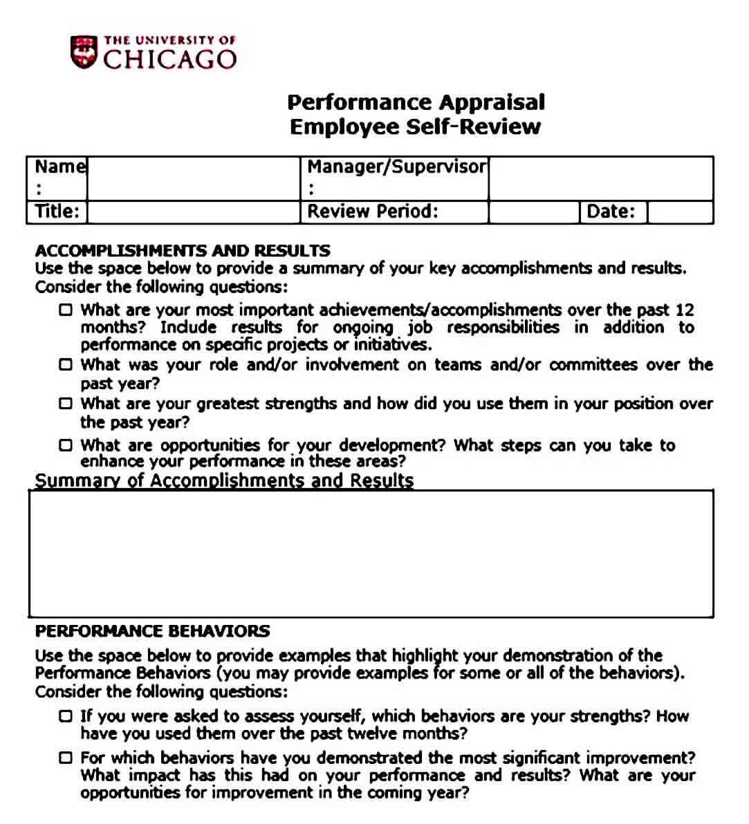 Performance Appraisal Employee Self Review