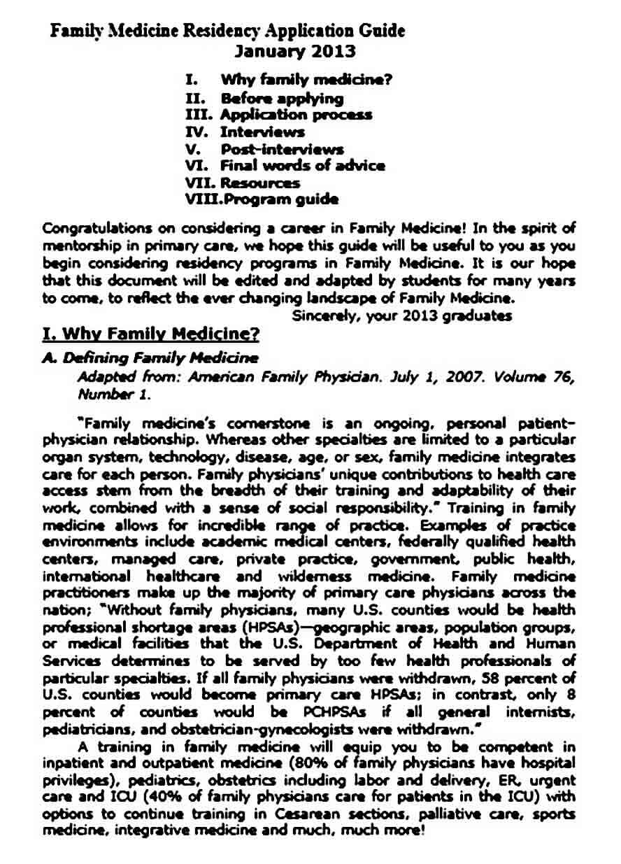Personal Statement for Family Medicine Residency
