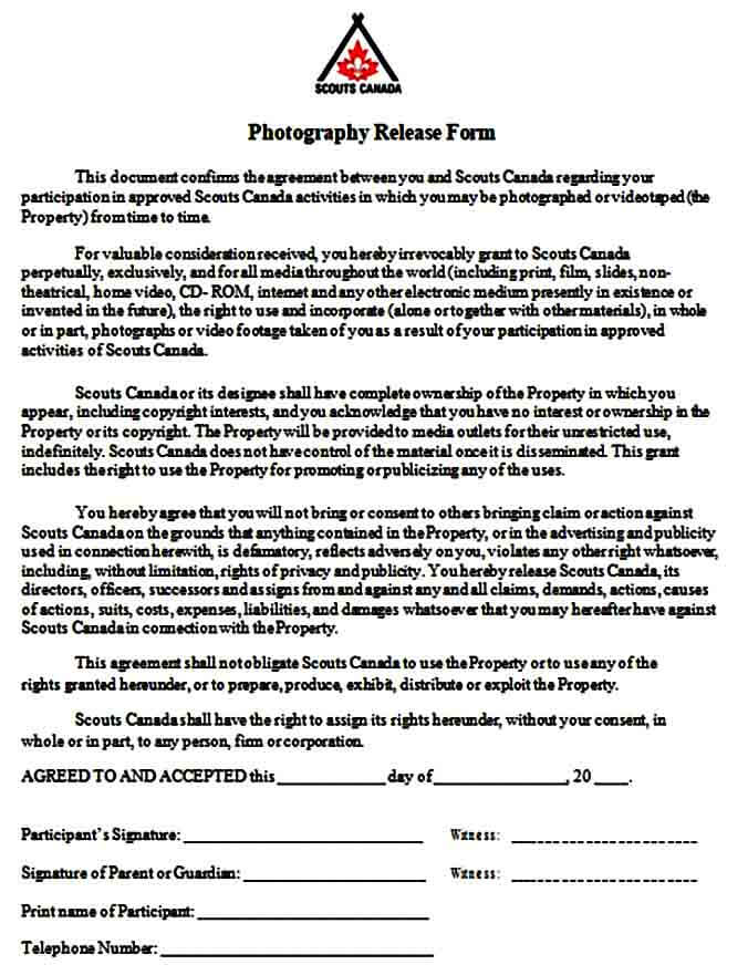 Photography Release Form Agreement