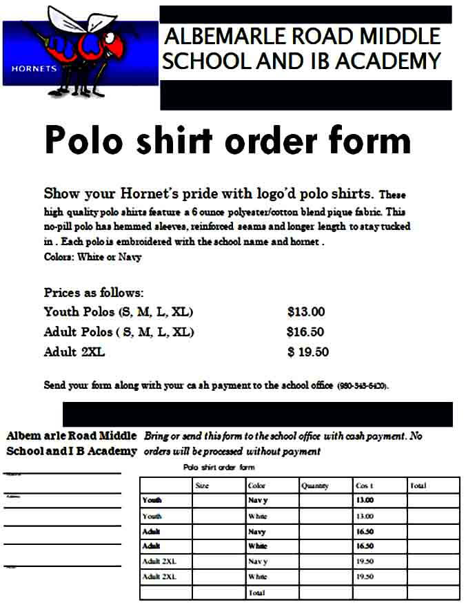 Polo Shirt Order Form Example