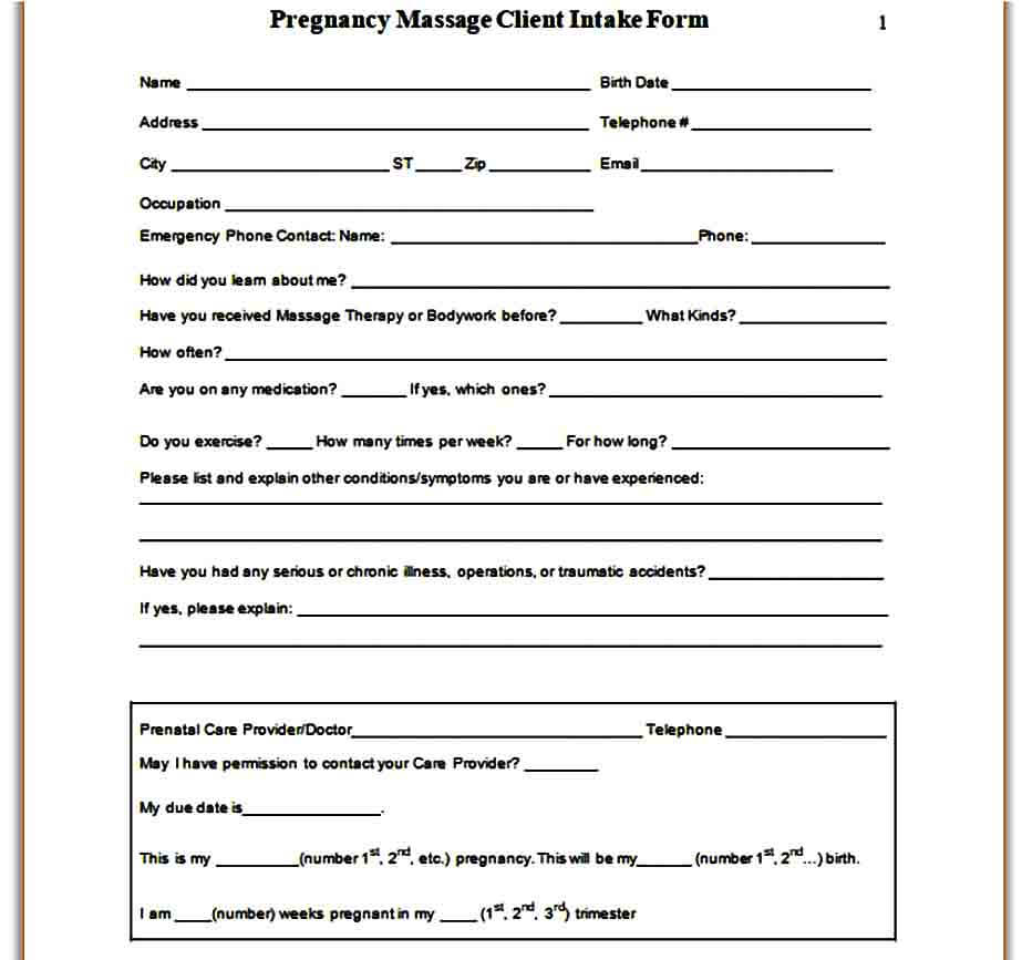Pregnancy Massage Client Intake Form