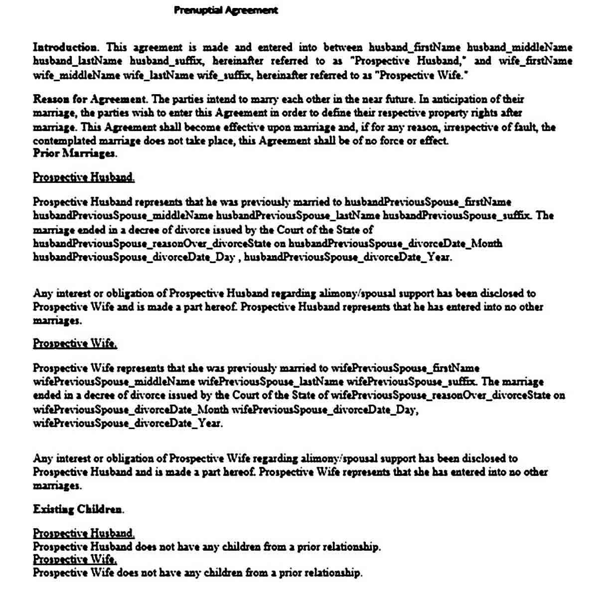 Prenuptial Agreement templates