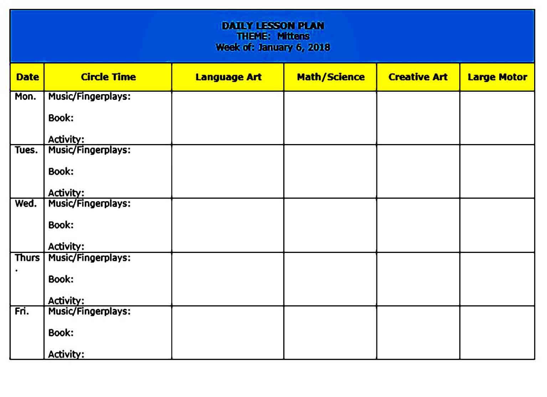 Preschool Lesson Plan Themes templates