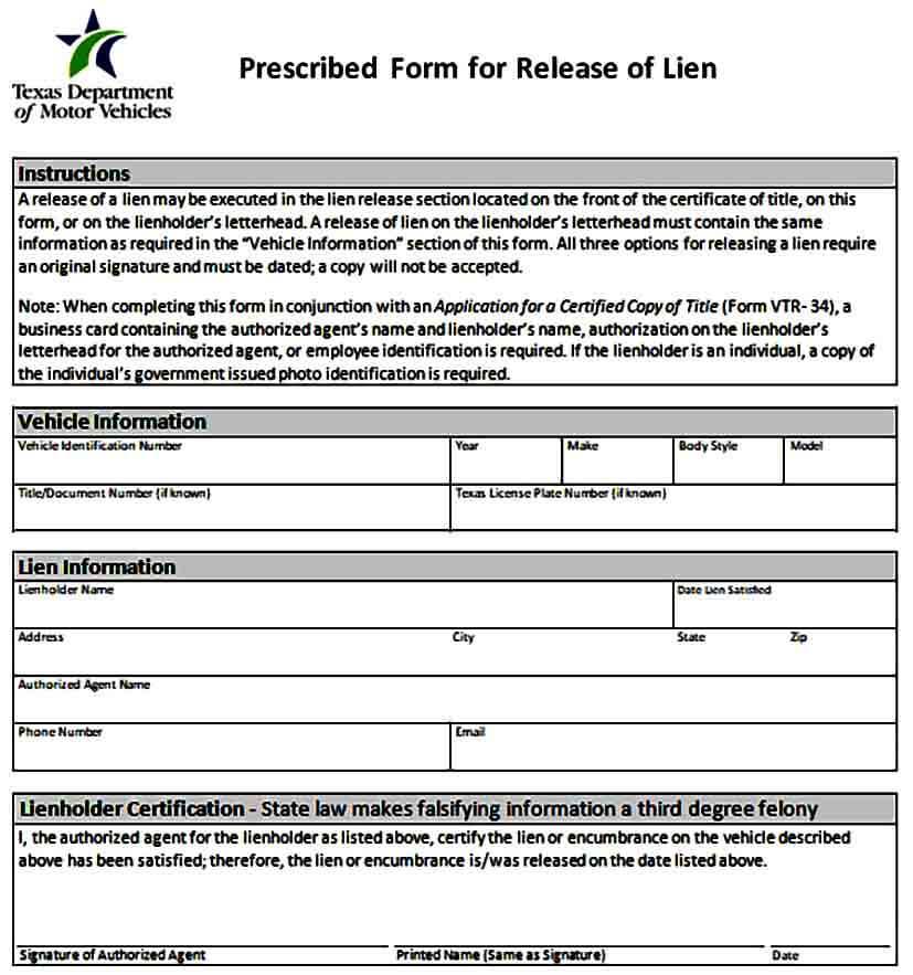 Prescribed Form for Release of Lien