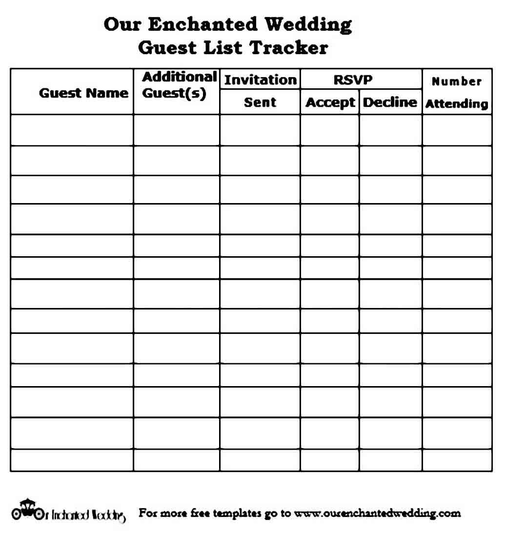 Print Wedding Guest List templates