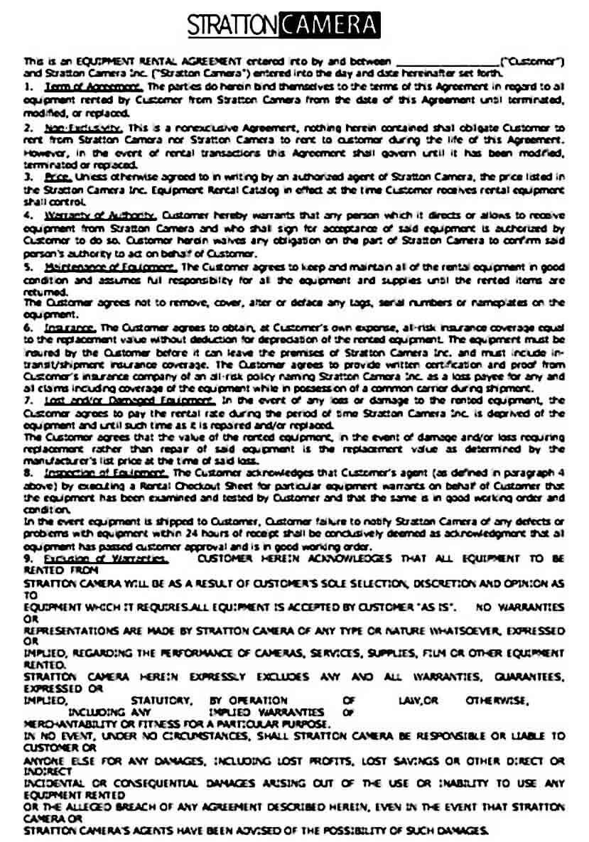 Printable Equipment Rental Agreement Sample