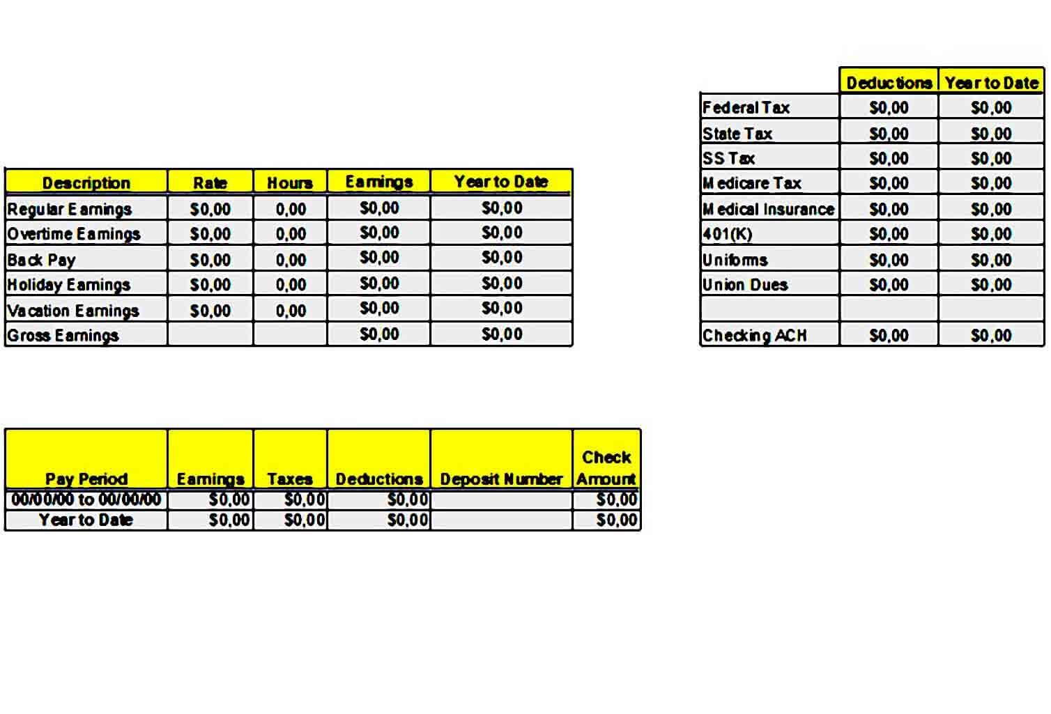 Printable Pay Stub templates