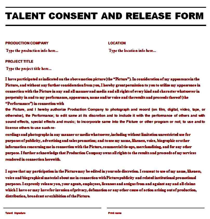 Printable Talent and Consent Release Form
