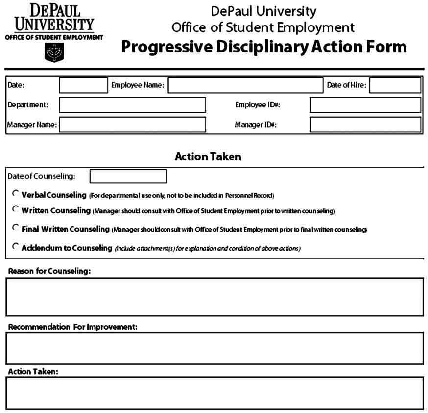 Progressive Disciplinary Action Form