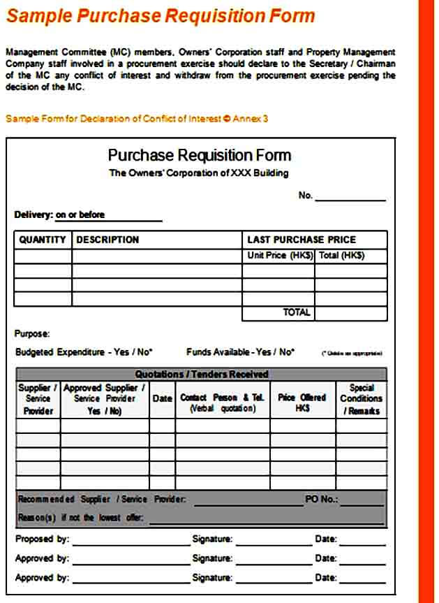 Purchase Requisition Form Format