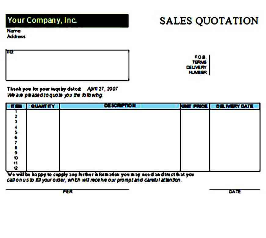 Quotation templates Excel