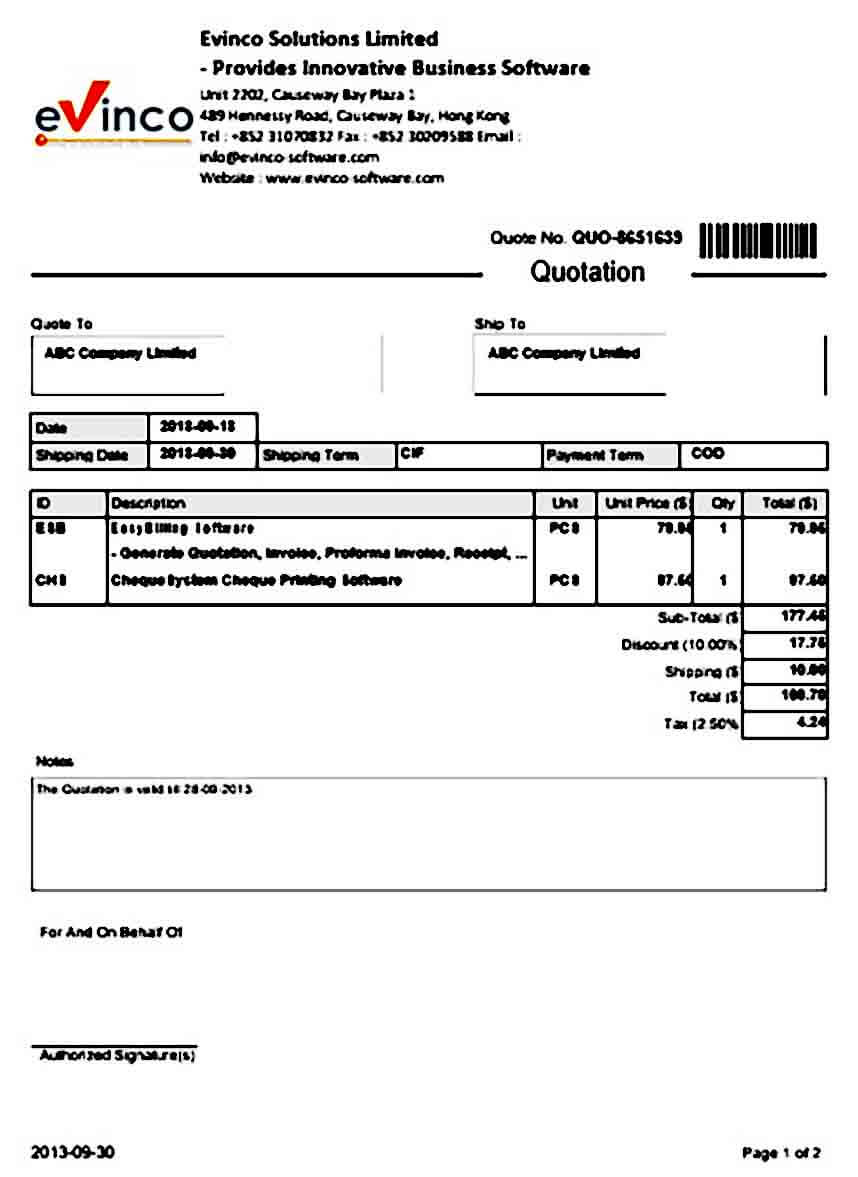 Quotation templates Sample Form