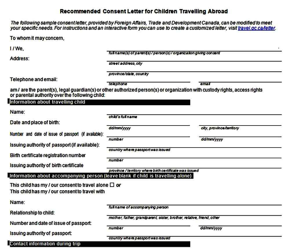 Recommended Consent Letter for Children Travelling Form