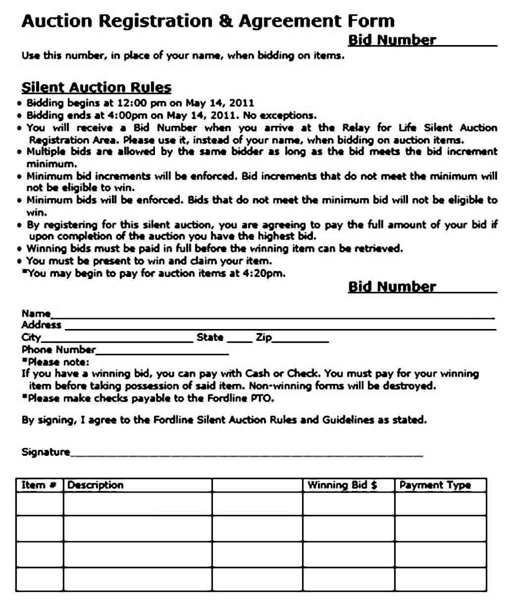 Registration Silent Auction Bid Sheet