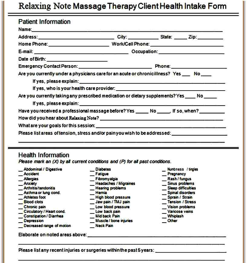 Relaxation Massage Intake Form
