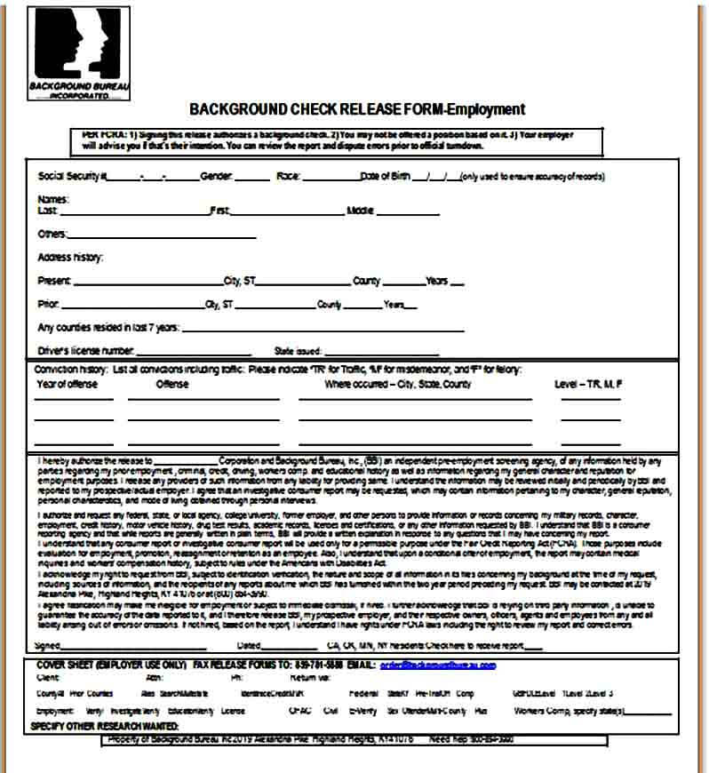 Release Form for Background Check