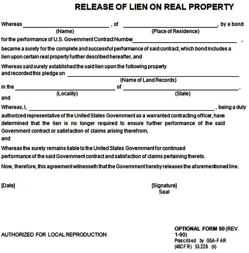 Release of Lien on Property Form