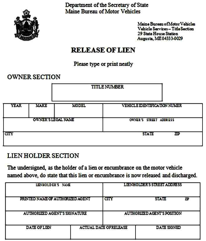 Release of Vehicle Lien Form Example