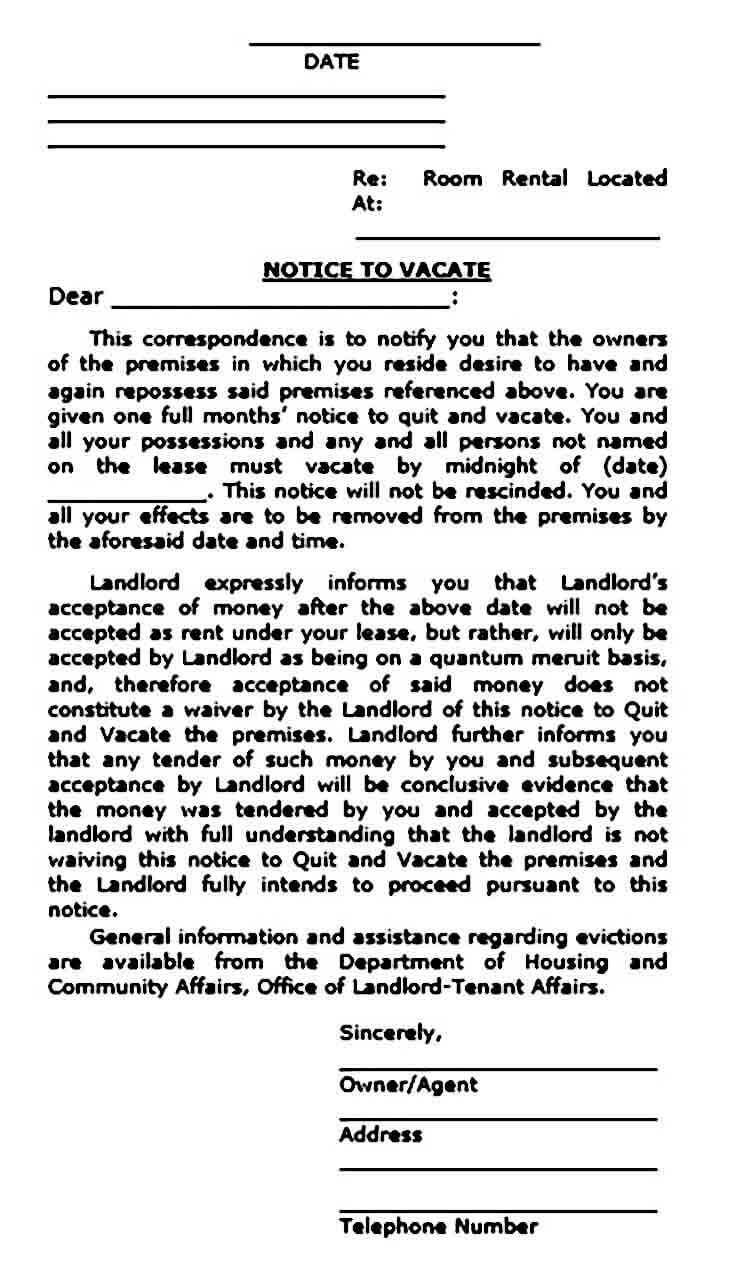 Rental Eviction Notice templates