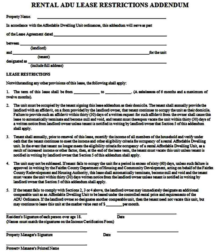 Rental Lease Addendum Form