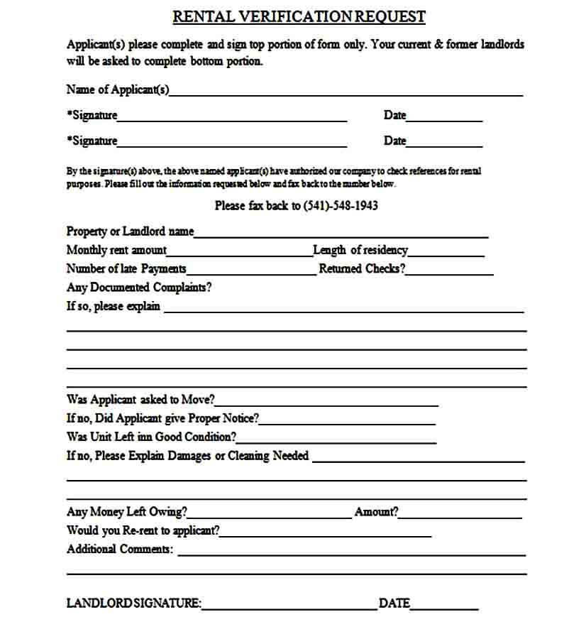 Rental Verification Request Form