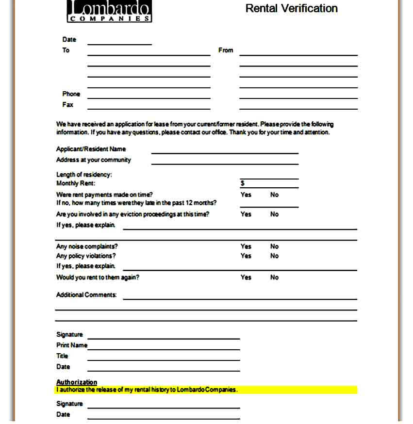 Residential Rental Verification Form