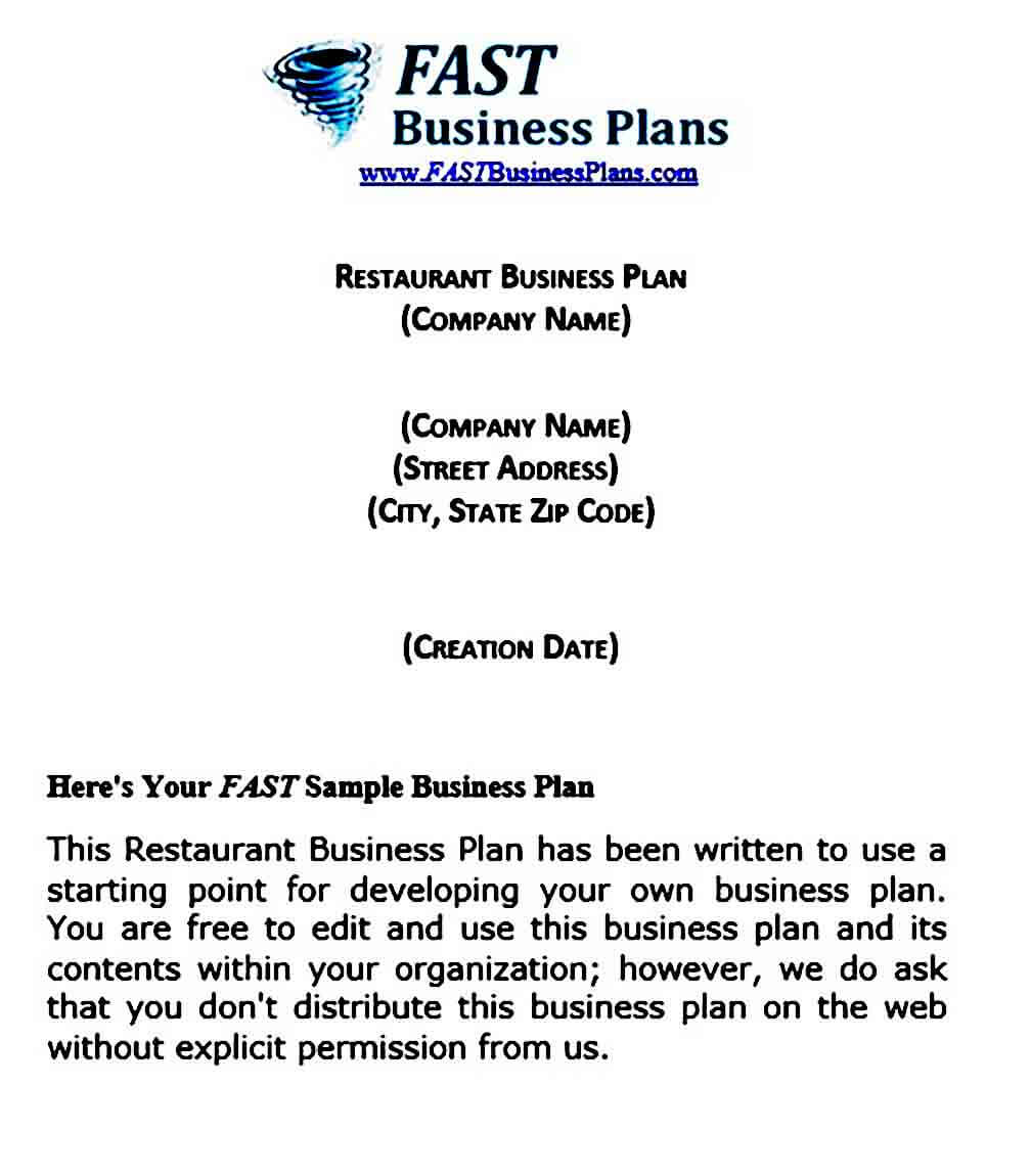 Restaurant Business Plan templates