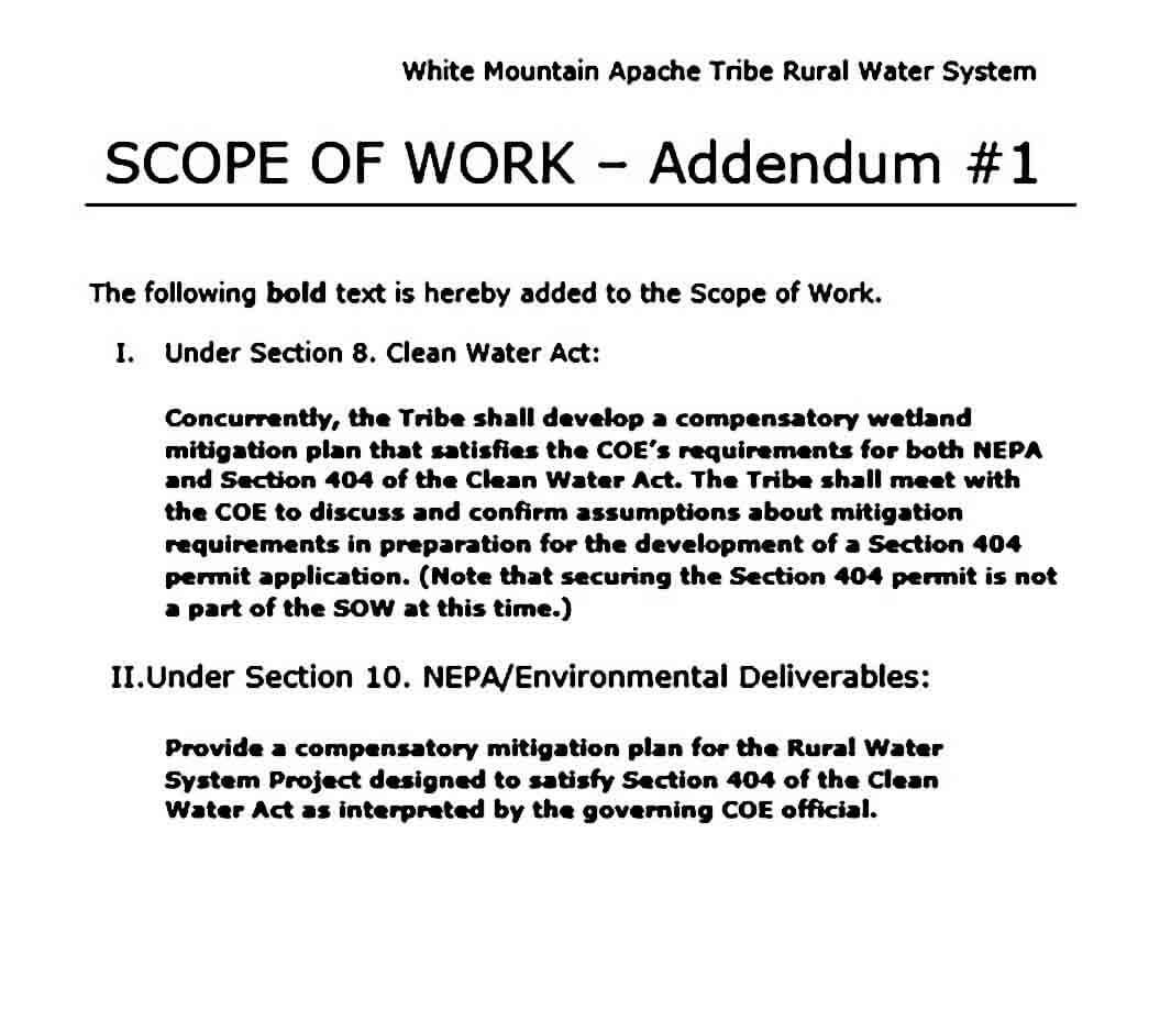 SCOPE OF WORK Addendum