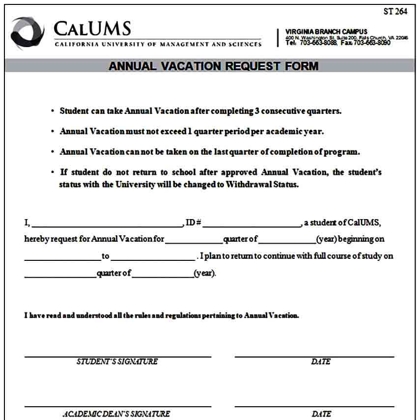 Sample Annual Vacation Request Form