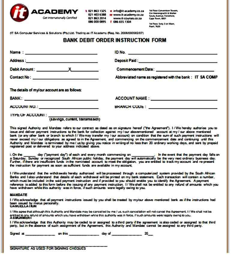 Sample Bank Debit Order Instruction Form