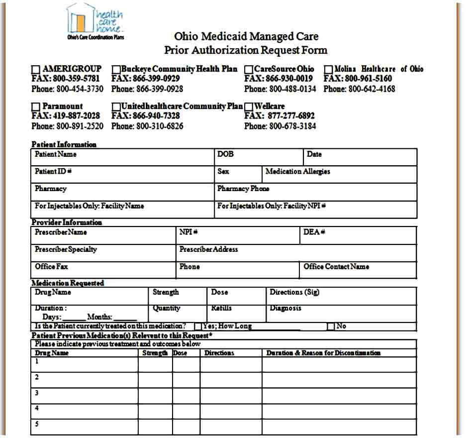 Sample Caremark Prior Authorization Form