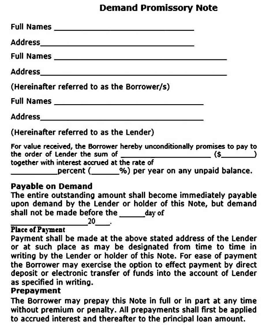 Sample Demand Promissory Note