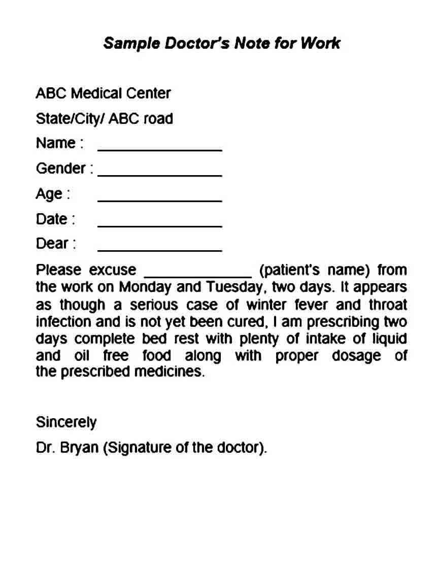 Sample Doctors Note for Work