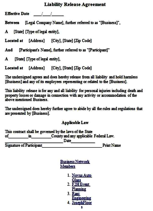 Sample General Release of Liability Form
