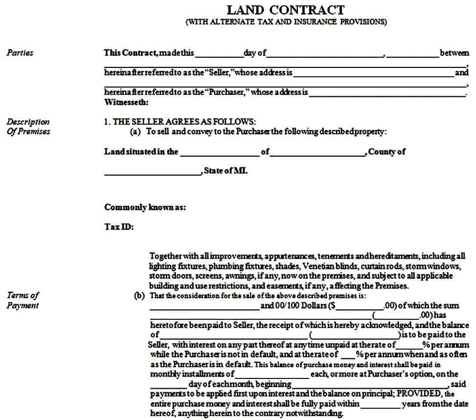 Sample Land Contract Form