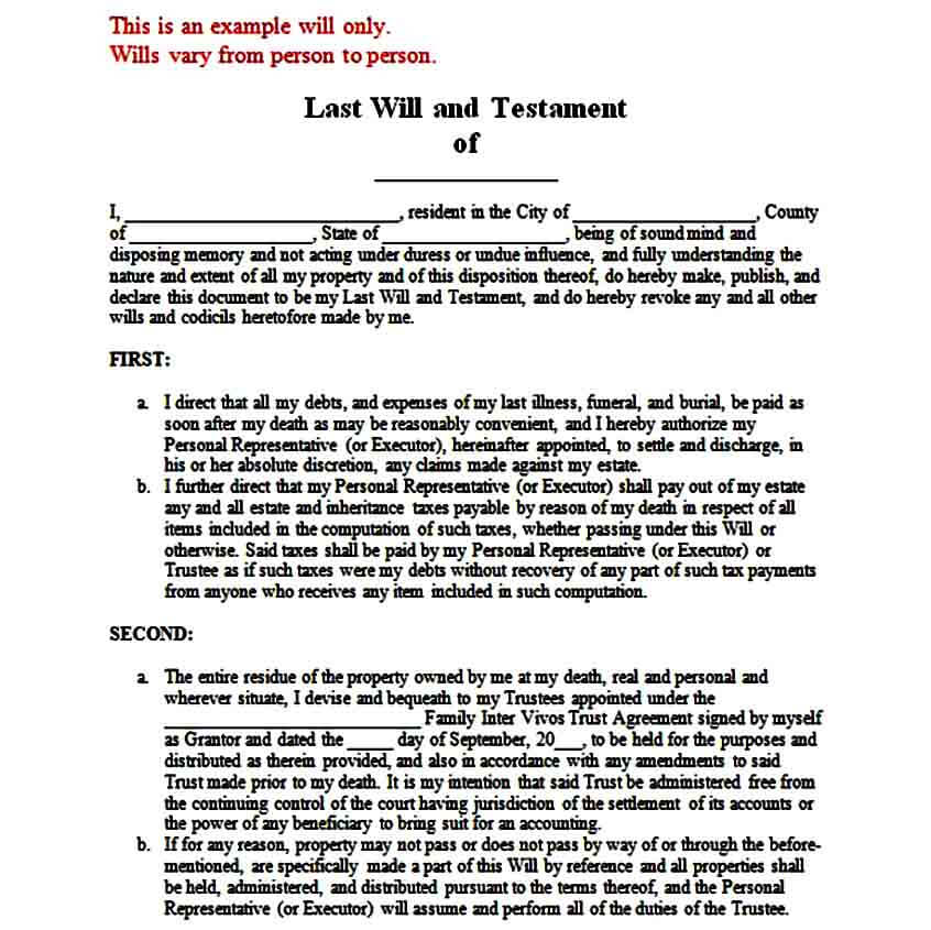 Sample Last Will and Testament Form