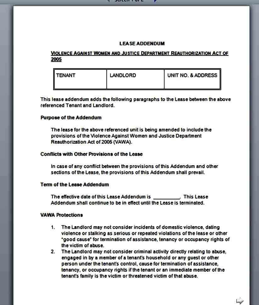 Sample Lease Addendum Form