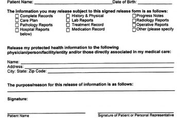 Sample Medical Records Release Form