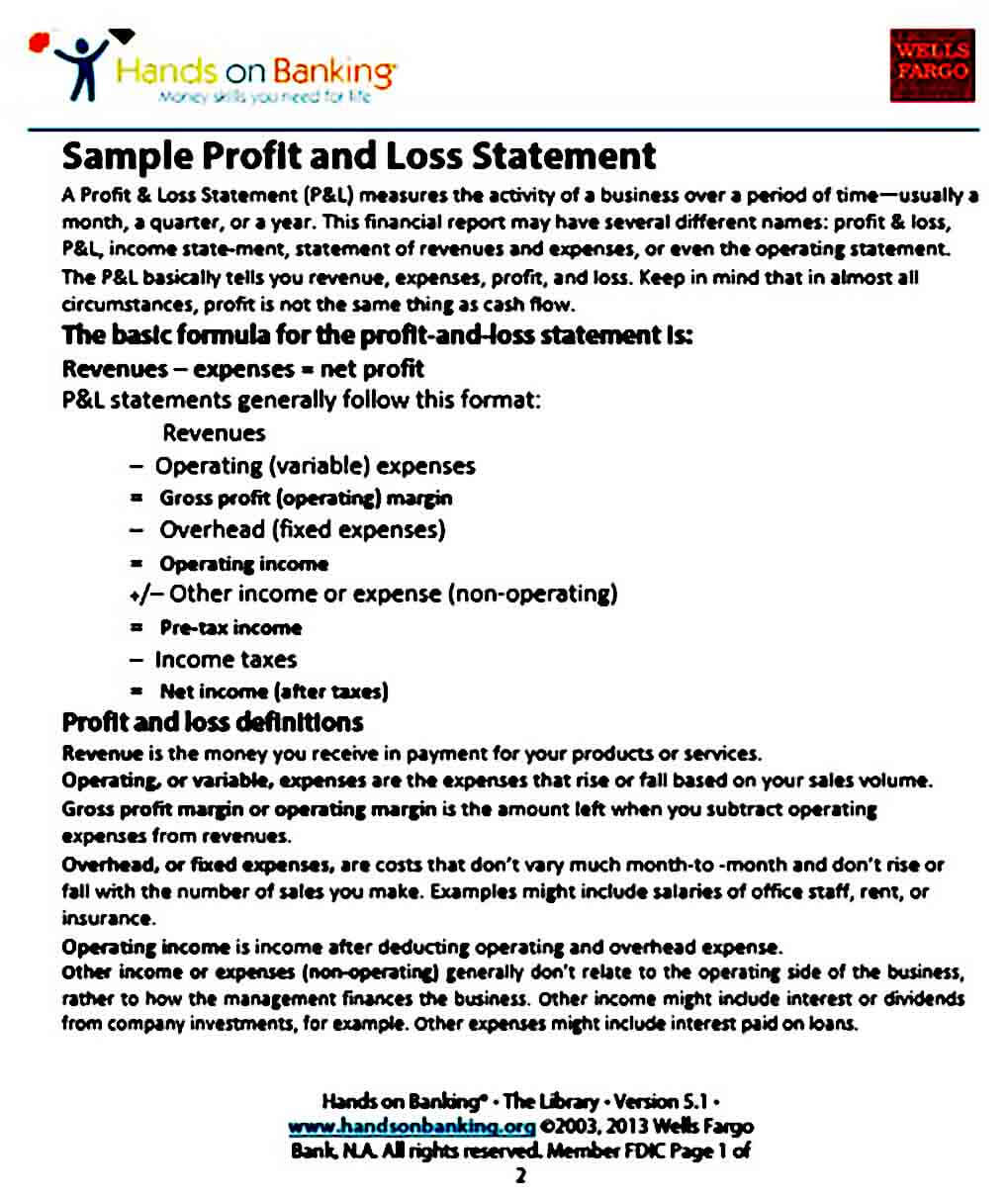 Sample Profit and Loss Statement
