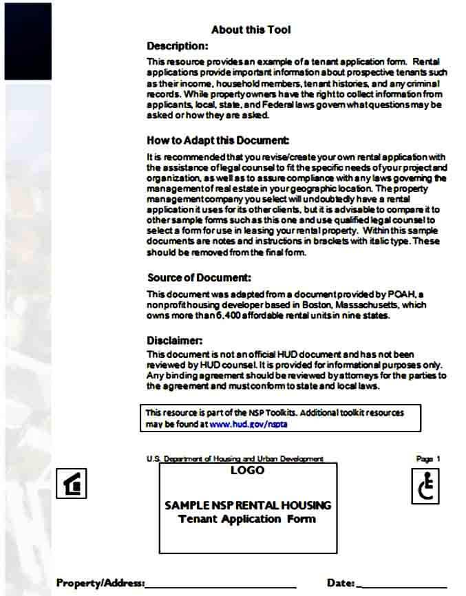 Sample Rental Housing Tenant Application Form