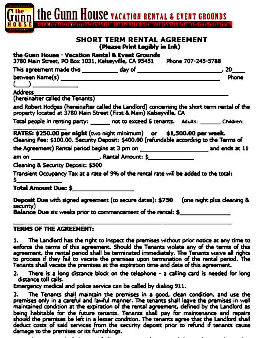 Sample Short Term Rental Agreement