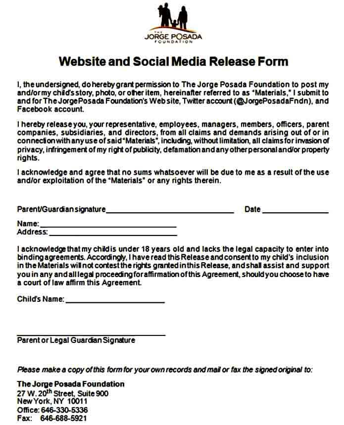 Sample Social Media Release Form