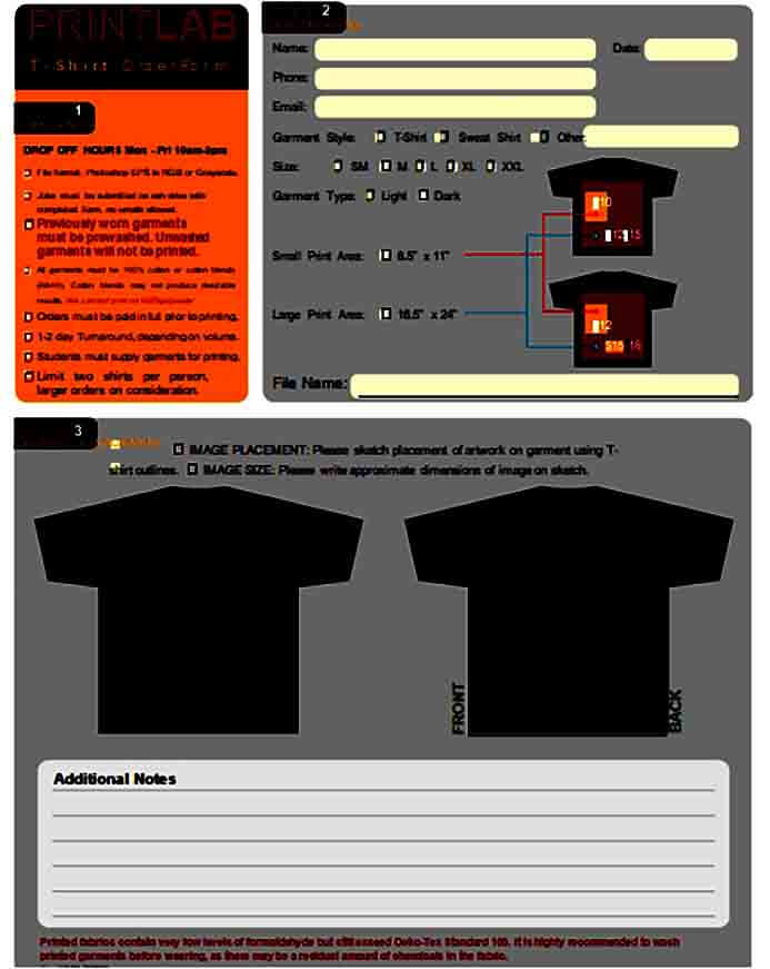 Sample T Shirt Order Form